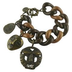 Yves Saint Laurent YSL African Mask Charm Wood Link Bracelet