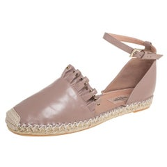 Valentino Beige Leather Ruffle Ankle Strap Espadrilles Size 40