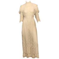 Victorian Bright White High Neck Lace and Embroidered Handkerchief Linen Dress