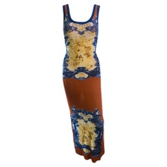 Jean Paul Gaultier Soleil Vintage Logo Mesh Bodycon Maxi Dress