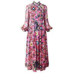 1960s OSCAR DE LA RENTA pink silk gown