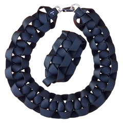 Hermès Black Braided Leather Bracelet and Necklace Set Petit H Rare