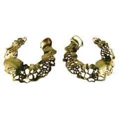 Christian Lacroix Vintage Gold Toned Perforated Design Hoop Earrings