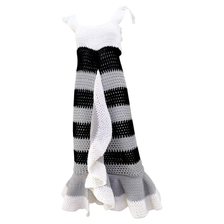 70s Crochet ruffle dress