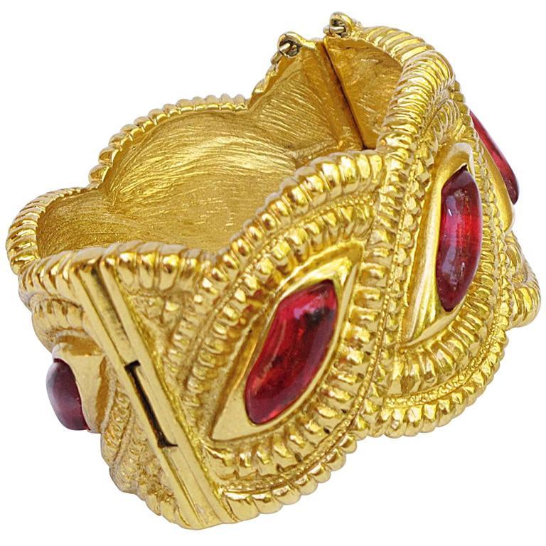 Jean Louis Scherrer Paris Signed Massive Jeweled Clamper Bracelet 1