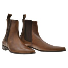 New VERSACE COLLECTION BROWN LEATHER BOOTS 40 - 7; 42 - 9