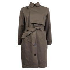 HERMES khaki gren cotton gaberdine 2018 BELTED TRENCH Coat Jacket 34 XXS
