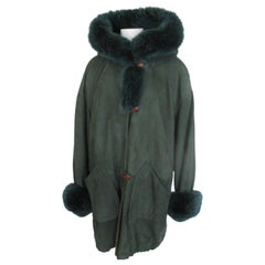 Green Suede Fox Fur Hooded Coat