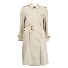 BURBERRY beige cotton DOUBLE BREASTED BELTED TRENCH Coat Jacket S - M