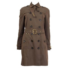 BURBERRY BRIT dark green cotton DOUBLE BREASTED BELTED TRENCH Coat Jacket 8 S