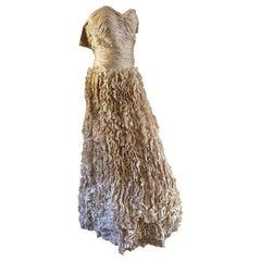 Vicky Tiel Vintage Gold Ruffled Evening Dress