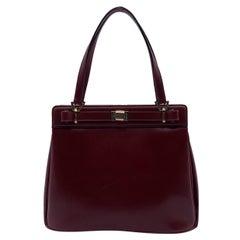 Gucci Vintage Burgundy Leather Handbag Satchel Top Handles Bag