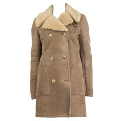 BALMAIN taupe DISTRESSED SUEDE DOUBLE BREASTED SHEARLING Coat Jacket S
