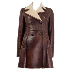 PRADA brown leather & ivory SHEARLING Peacoat Coat Jacket 42 M
