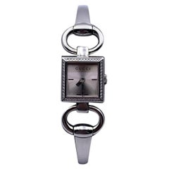 Gucci Silver Stainless Steel 120 Tornabuoni Diamond Square Wrist Watch