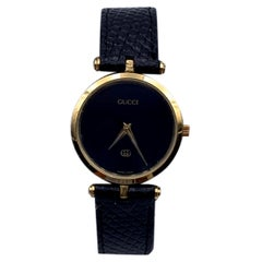 Gucci Vintage Gold Unisex Stainless Steel GG Logo Watch Black Dial