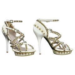 VERSACE GOLD-PLATED STUDS WHITE SANDALS SHOES from ATELIER COLLECTION 39 - 9