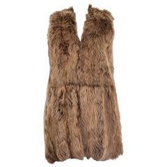 RALPH LAURENT brown LAMB FUR SHEARLING Vest Jacket S