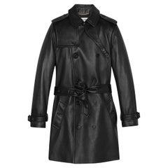 SAINT LAURENT black leather 2021 TRENCH Coat Jacket 36 XS