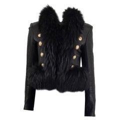 BALMAIN black leather FUR TRIM Jacket 38 S
