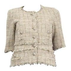 CHANEL beige & gold cotton TWEED GRIPOIX BUTTON Jacket 38 S
