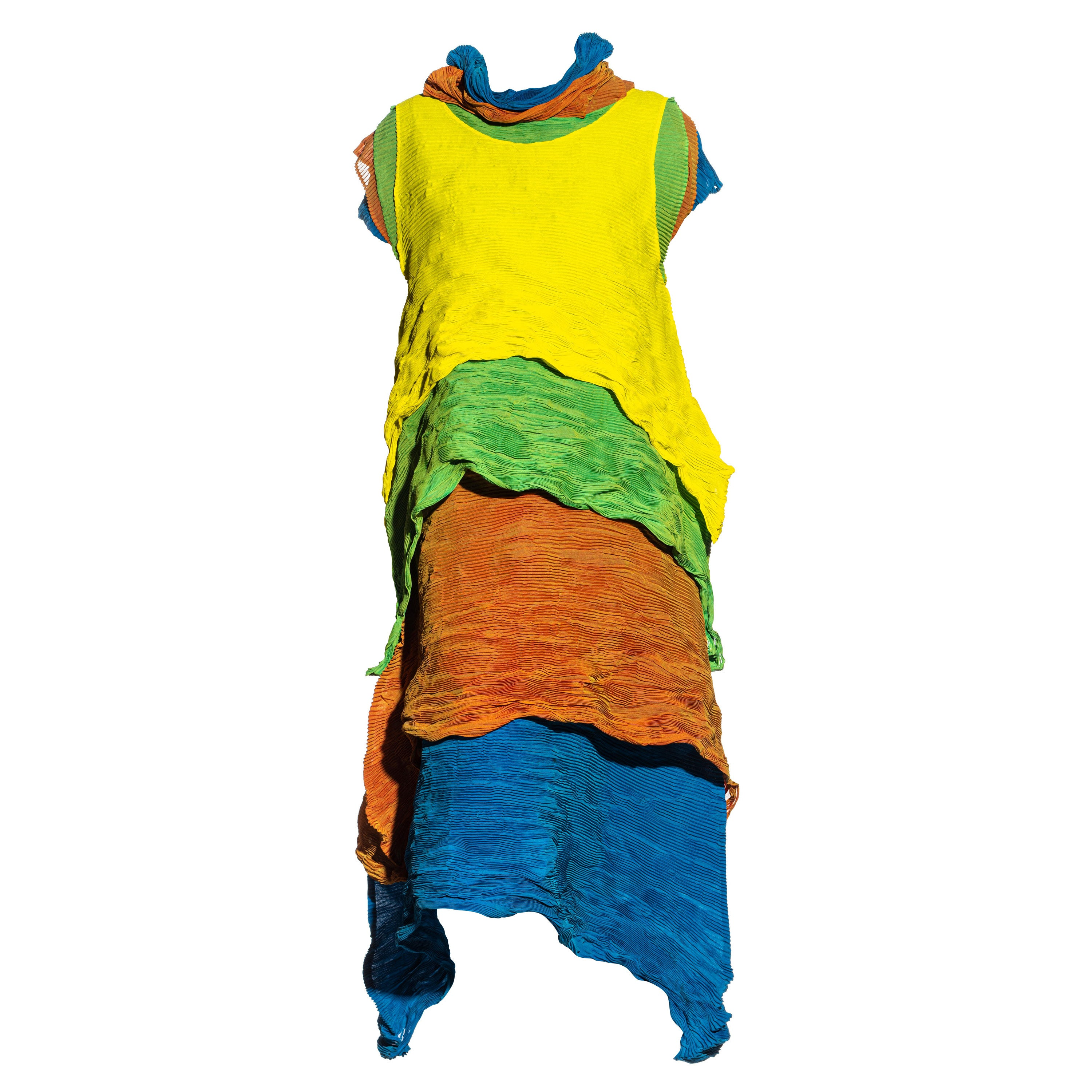Issey Miyake multicoloured four-piece layered pleated dress, ss 1993