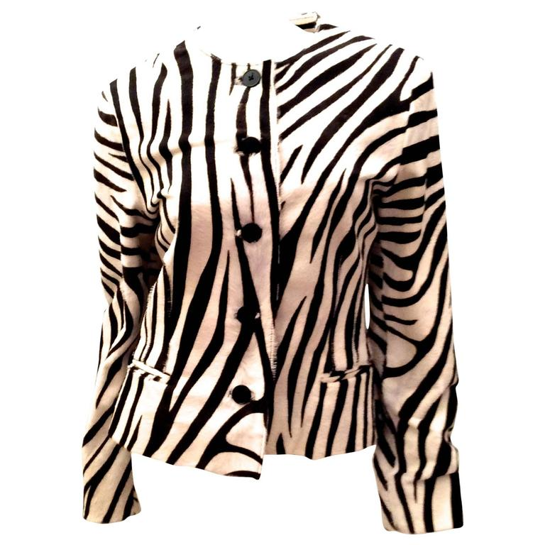 Ralph Lauren Purple Label Zebra Pattern Fur Coat - New