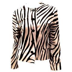 Ralph Lauren Purple Label Zebra Pattern Fur Coat - New