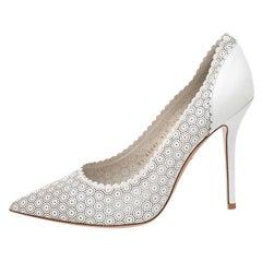 Salvatore Ferragamo White Laser Cut Leather Susi Pointed Toe Pumps Size 41
