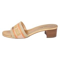 Dior Multicolor Cotton Blend Dway Slide Sandals Size 38.5