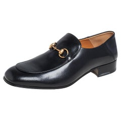 Gucci Black Leather Horsebit Loafers Size 44.5