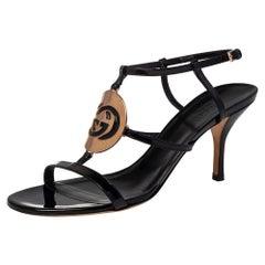 Gucci Black Patent Leather Interlocking G Strappy Sandals Size 38.5