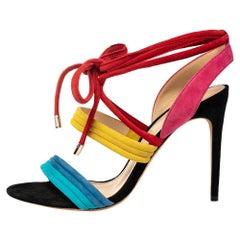 Alexandre Birman Multicolor Suede Aurora Ankle Wrap Sandals Size 40