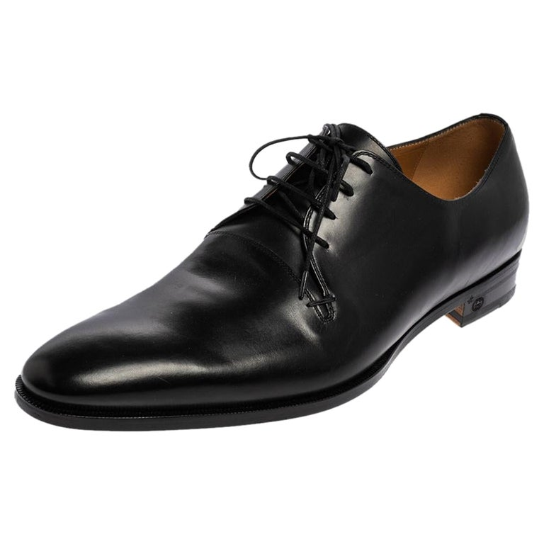 Gucci Black Leather Lace Up Derby Size 45 For Sale