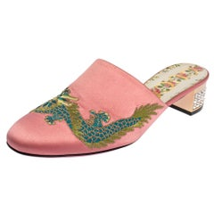Gucci Pink Satin Dragon Embroidery Mule Sandals Size 38.5