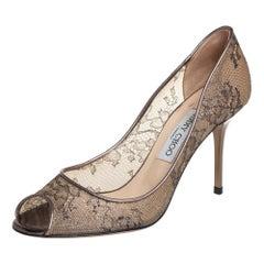 Jimmy Choo Metallic Bronze Lace Evelyn Peep Toe Pumps Size 38.5