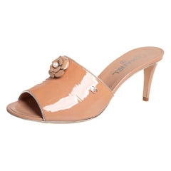 Chanel Beige Camellia Patent Leather Mule Sandals Size 41