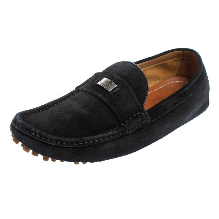 Gucci Black Suede Slip on Loafers Size 41.5 For Sale