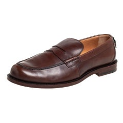 Gucci Brown Leather Penny Loafers Size 42.5