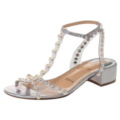Christian Louboutin Metallic Silver Patent Leather And PVC Faridaravie Sandals S