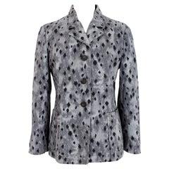 Krizia Gray Black Cotton Animalier Jacket
