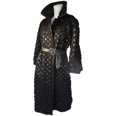 Beautiful Black Persian Lamb/Astrakhan/Leather Fur Coat