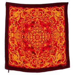 Valentino Gold Red Brown Silk Floral Scarf
