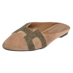 Hermes Beige Suede Roxane Flat Mule Sandals Size 40
