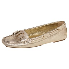 Dior Gold Leather Embellished Slip On Loafers Size 39