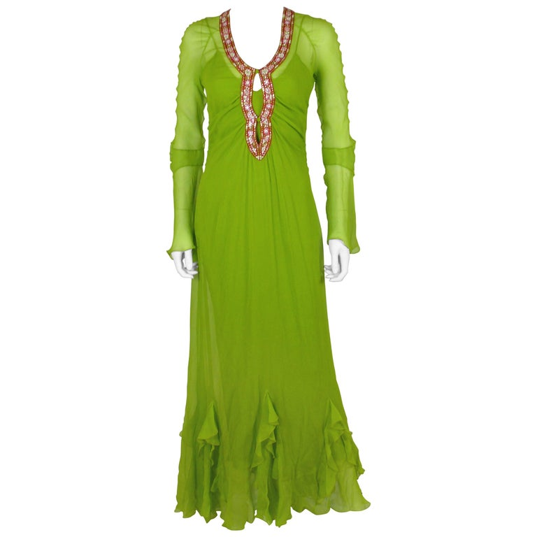 Christian Dior Ruffled Chiffon Dress For Sale