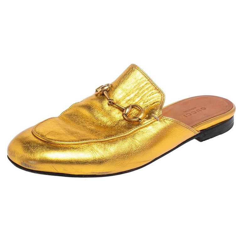 Gucci Gold Leather Princetown Mule Flats Size 37.5 For Sale