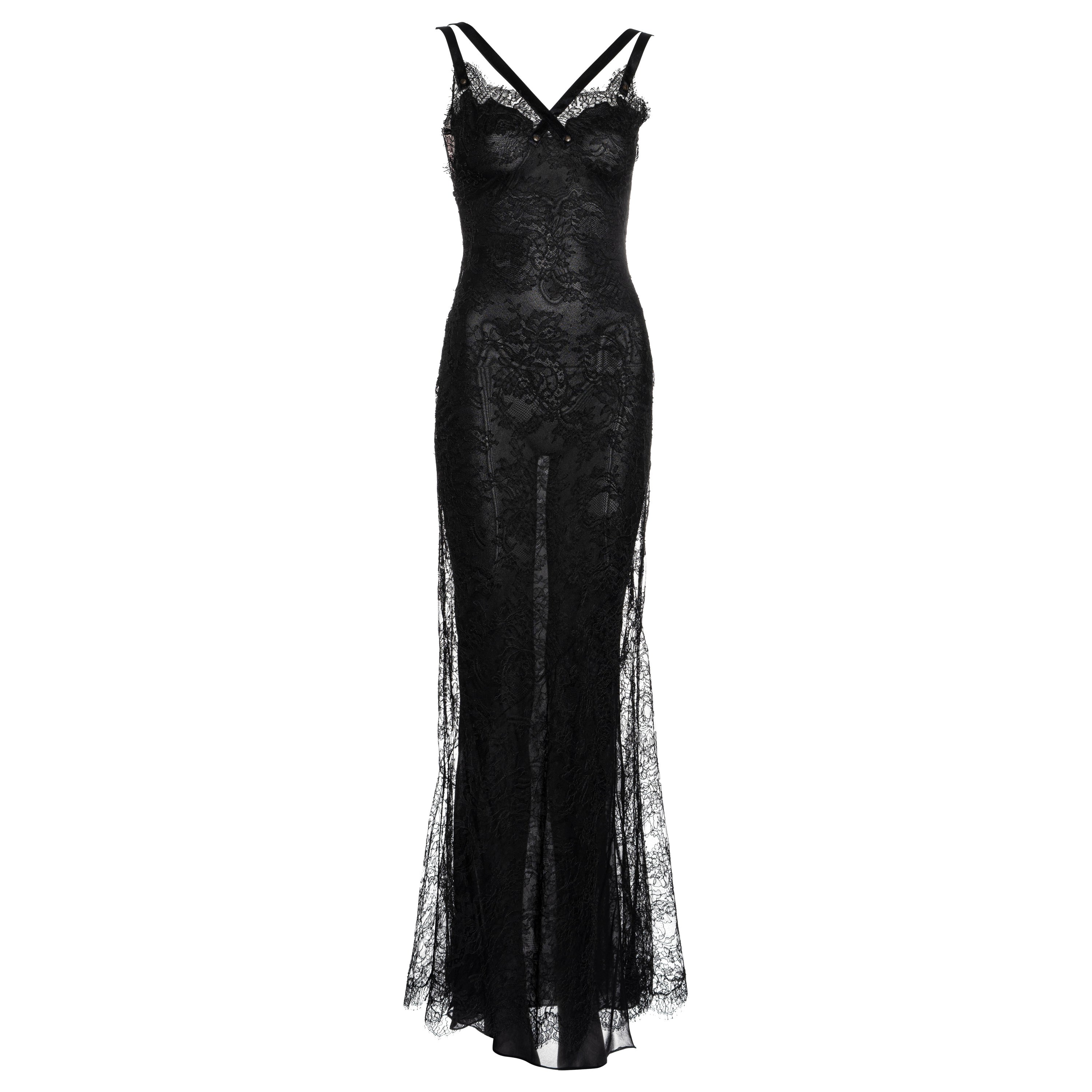Christian Dior by John Galliano black lace and silk evening maxi dress, ss 2001