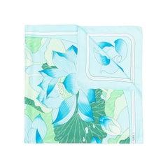 Hermes Light Blue Fleurs de Lotus by Christiane Vauzelle Silk Scarf