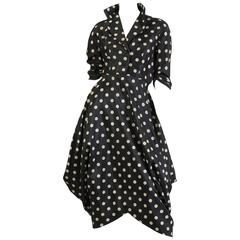 Very Interesting 1950s Draped Taffeta Dress